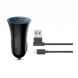 HOCO 2-PORT USB CAR CHARGER + LIGHTNING CABLE BLACK