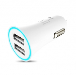 HOCO UC204 2-PORT USB CAR CHARGER WHITE