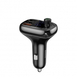 BASEUS S13 2-PORT USB CAR CHARGER + TRANSMITER FM BLACK
