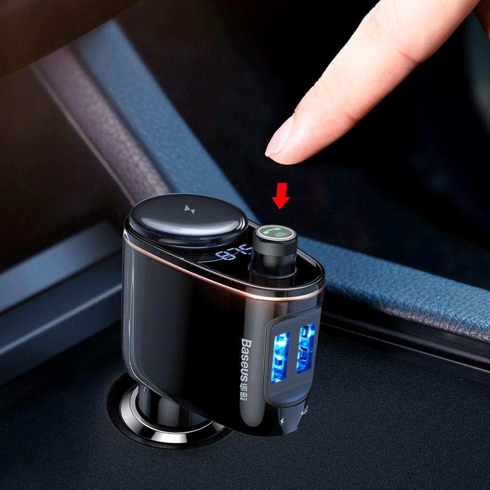 BASEUS S06 2 PORT USB CAR CHARGER + TRANSMITER FM BLACK