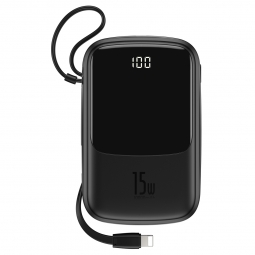 BASEUS QPOW POWER BANK 10000MAH WITH LIGHTING CABLE BLACK