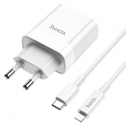 HOCO C80A NETWORK CHARGER PD20W/QC3.0 + LIGHTNING CABLE WHITE