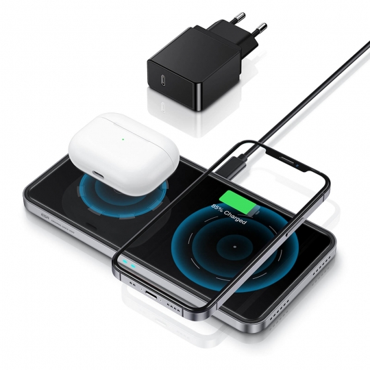 ŁADOWARKA INDUKCYJNA ESR HALOLOCK 2IN1 MAGNETIC MAGSAFE WIRELESS CHARGER BLACK