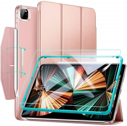 ESR ASCEND TRIFOLD & TEMPERED GLASS IPAD PRO 12.9 2021 ROSE GOLD