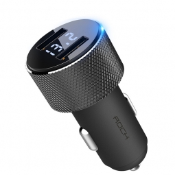 ROCK SITOR LED 2-PORT USB CAR CHARGER BLACK
