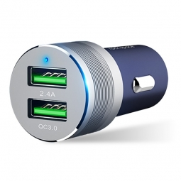 ROCK SITOR QC3.0 2-PORT USB CAR CHARGER NAVY