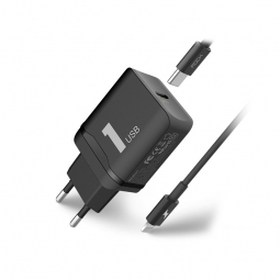 ROCK PD2IN1 NETWORK CHARGER + LIGHTNING CABLE BLACK